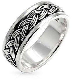 Bling Jewelry Men Sterling Silver Braided Band Ring.