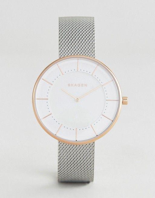 Skagen | Skagen Silver & Rose Gold Gitte Mesh Watch