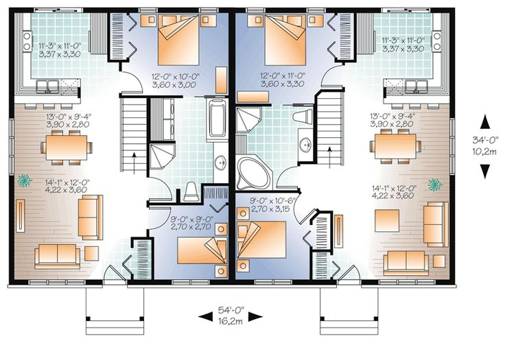 76 best images about multi unit plans on pinterest for Multi family house plans apartment