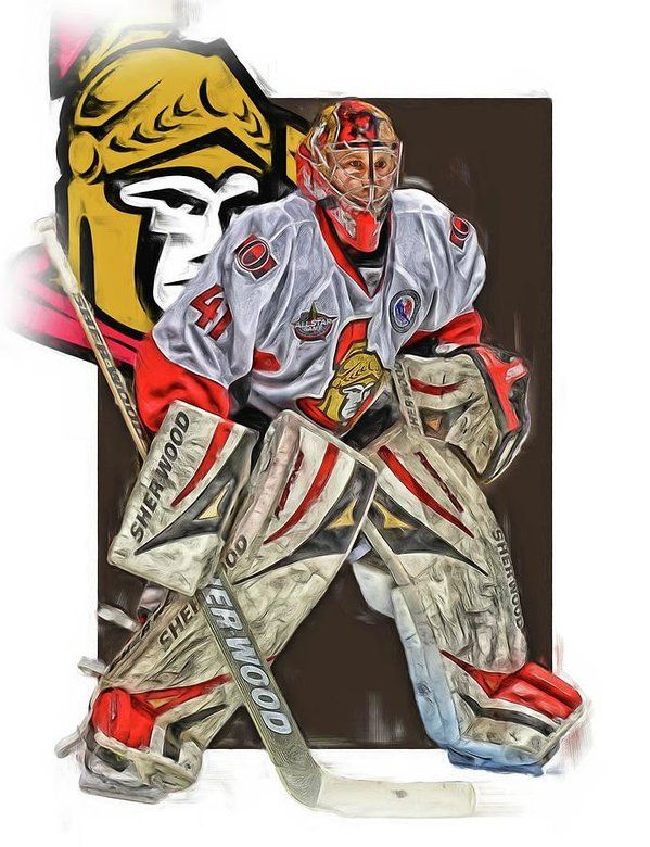 Craig Anderson Print featuring the mixed media Craig Anderson Ottawa Senators Oil Art by Joe Hamilton