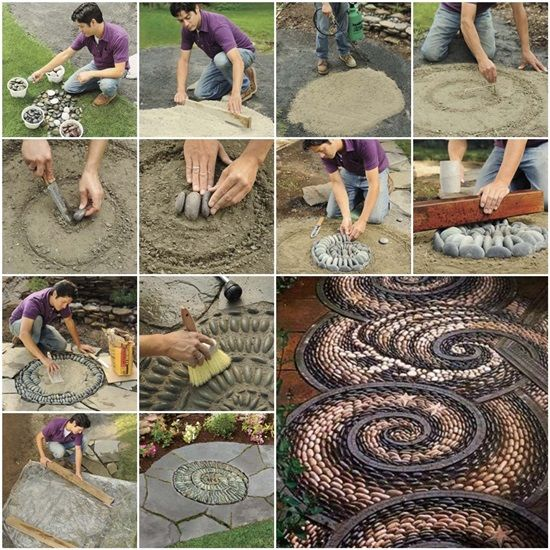 DIY Spiral Rock Pebble Mosaic Path