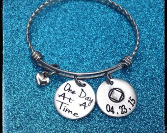 Sobriety Jewelry Recovery Gift Addiction Recovery Jewelry Sobriety Charm Bracelet Custom Hand Stamped Monogram Jewelry Initial Jewelry __________________________________________________  ✰•✰ How long before it ships? Click on the Shipping & Policies tab OR check out the shop announcement: https://www.etsy.com/shop/tkiDesigns I keep the posted production times current and up to date so there are no surprises after you order. _____________________________________________...