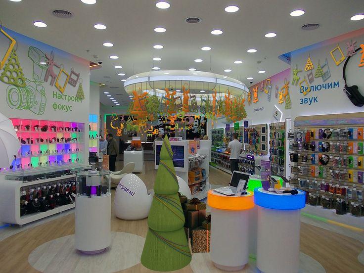 Новогоднее оформление магазина Связной, interier, design, интерьер, дизайн, новогоднее, оформление, магазин, витрина, новый год, волшебство, праздник, цвета
