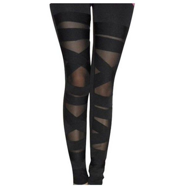 Tp Sky Women's Slim Stretch Ripped Bandage Tights Leggings Pants Black ($5.79) ❤ liked on Polyvore featuring pants, leggings, distressed pants, ripped leggings, ripped pants, destroyed leggings and slim pants