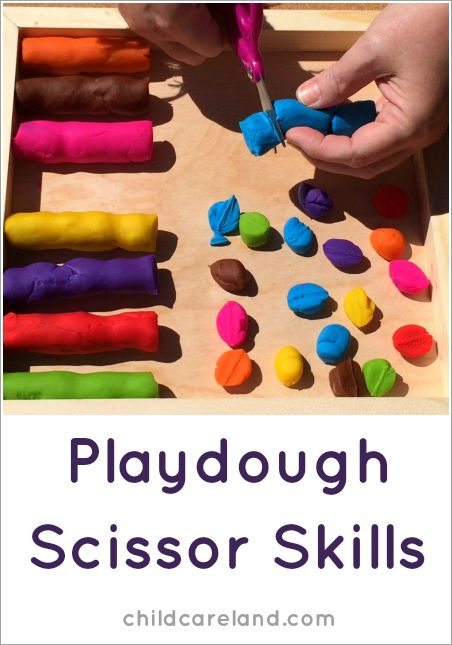 Playdough Scissor Skills ... we did this in an outdoor center but it can also be done indoors in a math center or for a quiet time activity.