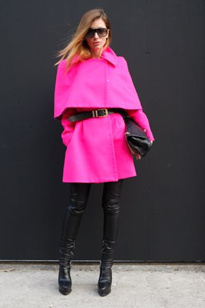 A black + pink neon look - electrifying! •Brights in street style.