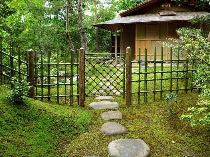Pad met mos en bamboe hek