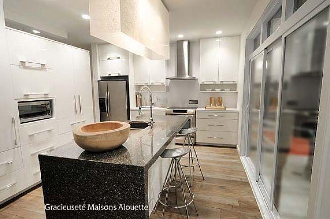 Détail du plan de Maison unifamiliale no. 3713 - cuisine contemporaine - cuisine moderne