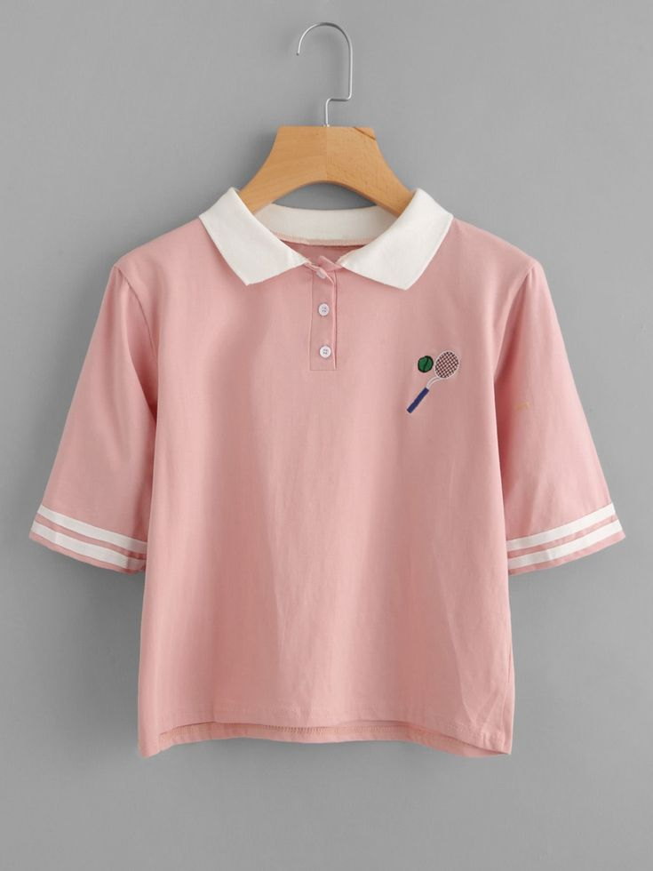 Short Sleeve T-Shirts. T-Shirts Designed with Lapel. Striped design. Trend of Summer-2018. Designed in Pink. Fabric is very stretchy.