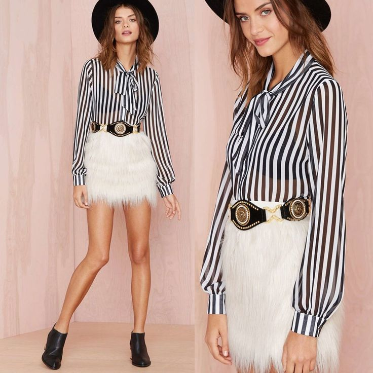Women Black White Stripe Print Long Sleeves Crinkle Oversize  Blouse Tops Shirt  #Dunland #Blouse #Casual