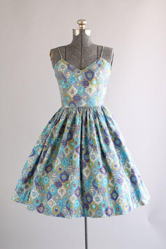 Vintage 1950s Dress / 50s Cotton Dress / Blue and Purple Harlequin Floral Print Sun Dress w/ Spaghetti Straps XS/S