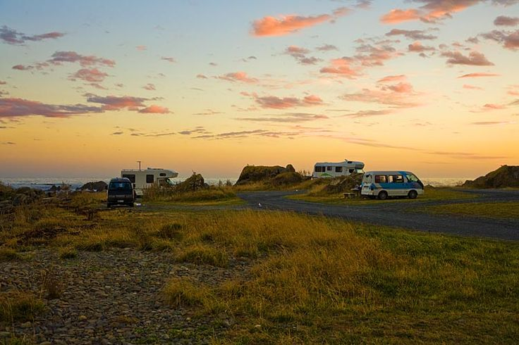 Camper vans overnight in a spot where it is hard to imagine better,  see more at New Zealand Journeys app for iPad www.gopix.co.nz