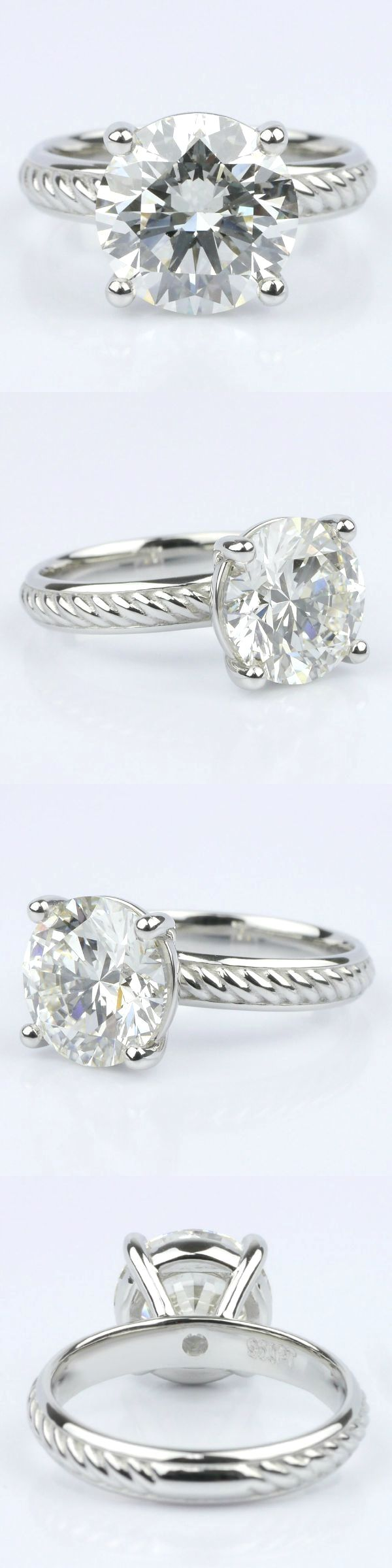 Twisted Rope Comfort Fit Solitaire Engagement Ring. Round 3.53 Ctw. Color: I Clarity: SI1 Cut: Super Ideal Certification: GIA Diamond/Gem Cost: $39,120 Twisted Rope Solitaire Engagement Rin Metal: Platinum Setting Cost: $1,095