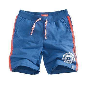 Z8 baby sweat short met een sportieve streep aan de zijkant, model Lennox Jogging. Deze korte broek is voorzien van een elastische taille met tunnelkoord - Indigo - NummerZestien.eu