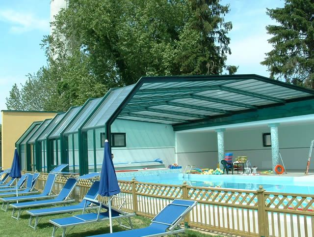 A swimming pool, when covered and protected from sun and wind, increases its commercial value and embellishes the surrounding scenery.