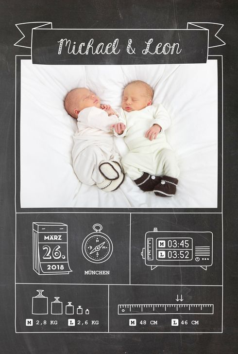Geburtskarte Kleinkram Tafel Zwillinge