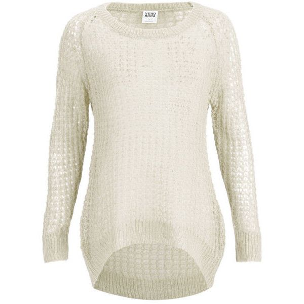 Vero Moda Women's Millo Slouch Jumper - Oatmeal (24 CAD) ❤ liked on Polyvore featuring tops, sweaters, beige, open-stitch sweater, white top, jumper top, cream sweater and jumpers sweaters