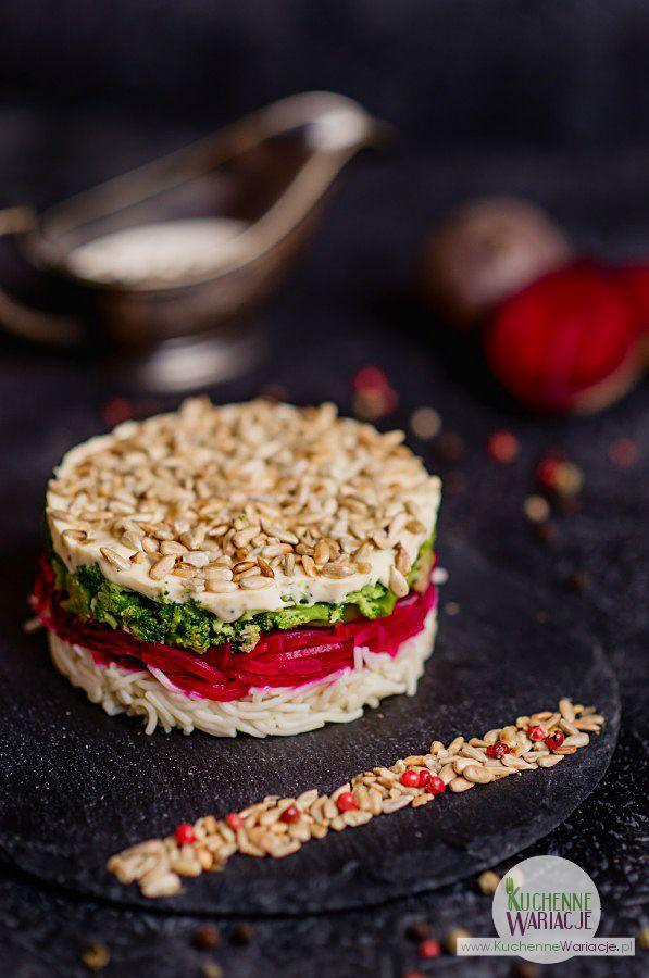 Sałatka makaronowa z burakami, brokułem i prażonym słonecznikiem | Bezglutenowe Kuchenne Wariacje