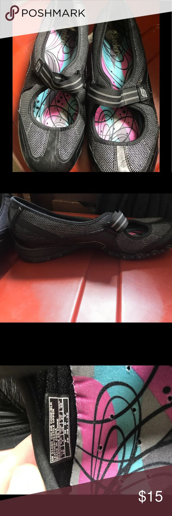 Skechers slip on shoes with Velcro strap Skechers black and gray speckles has Velcro strap across top of foot. Size 10 very comfortable, but after ankle break cannot wear them. Skechers Shoes Athletic Shoes