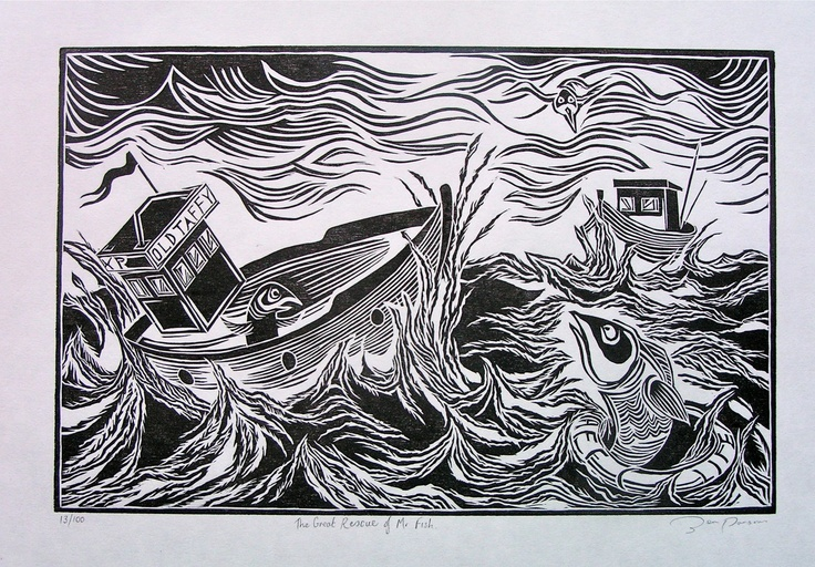 The Great Rescue of Mr Fish, woodcut print 20 x 30cm.