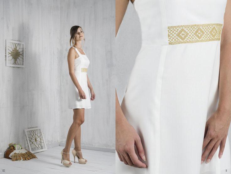 Bobbin lace, Pillow lace, Paneled dress, little white dress, handmade, traditional Greek handicraft, bamboo fabric, sustainable fashion. www.ariadnesthread.gr