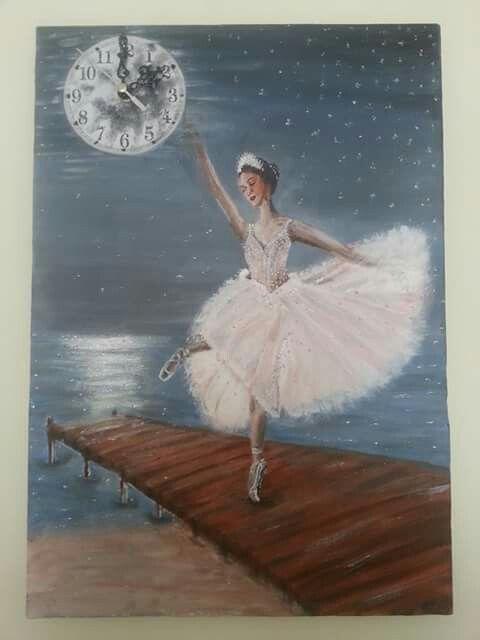 35*50tuval akrilik boya  Orjinal resim yakomozda dans eden balerin saat çalışır durumda