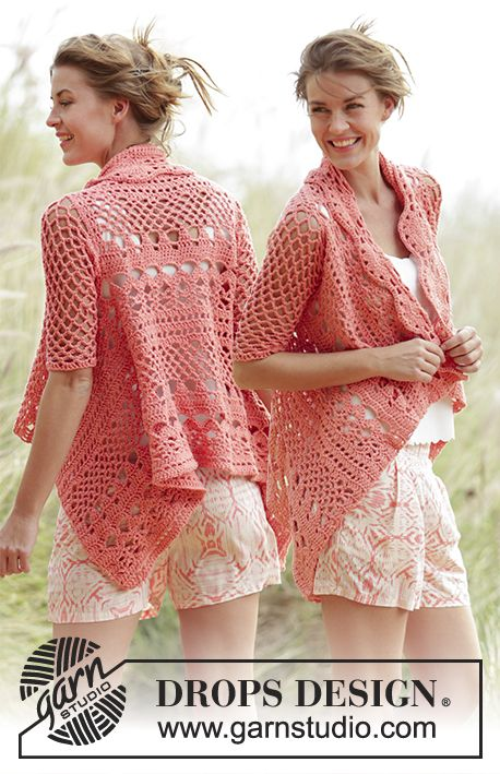 """Peach Dream - Crochet DROPS jacket worked in a square with lace pattern in """"Paris"""". Size: S - XXXL. - Free pattern by DROPS Design"""