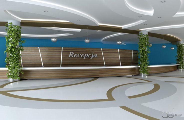 My proposition of a reception in a large public building.  www.anima-design.pl #interiordesign #public #reception #design