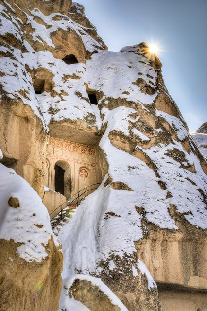 Snow in Göreme, Cappadocia, Turkey >>> I love Goreme!