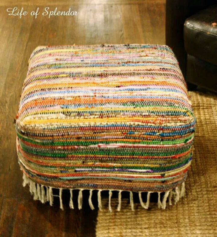 Use a dollar store rag rug to reupholster an old footstool