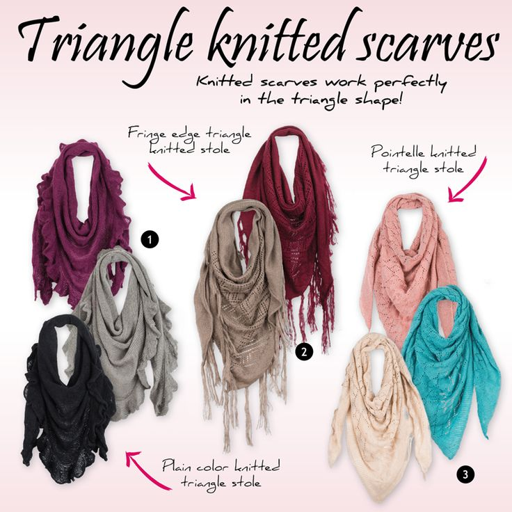 Achilleas accessories | Triangle knitted scarves. Knitted scarves work perfectly  in the triangle shape!