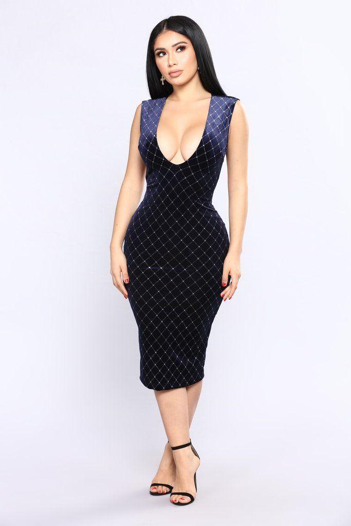 That Spark Velvet Dress - Navy