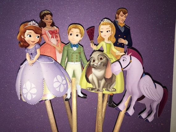 Sofia the first character cut outs, Princess Sofia the first, Sofia the first Amber, James, Clover, Minimus,Queen Miranda, King Roland