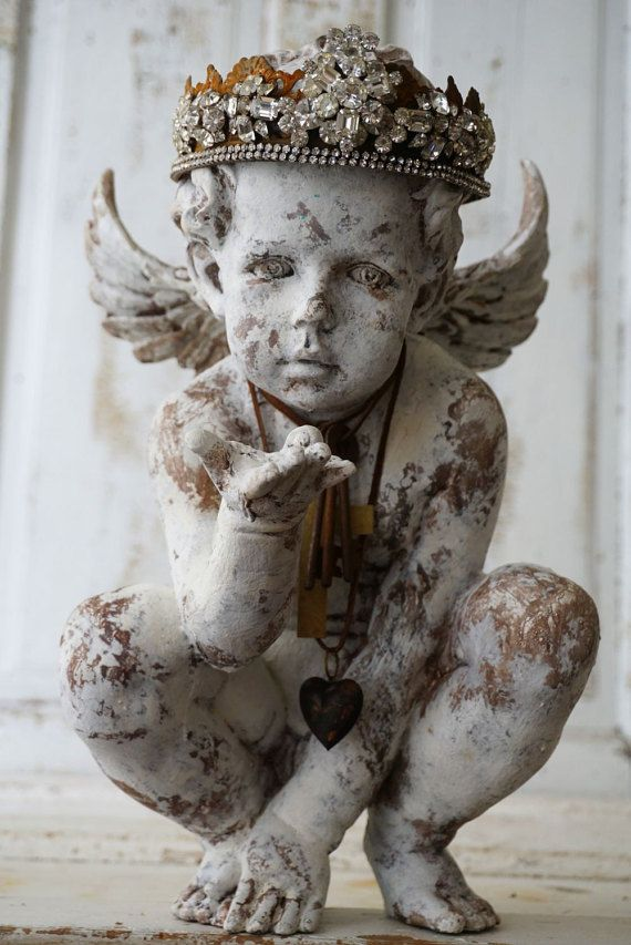 Ornate cherub statue elegant rhinestone crown shabby cottage chic distressed painted angel handmade embellishments decor anita spero design