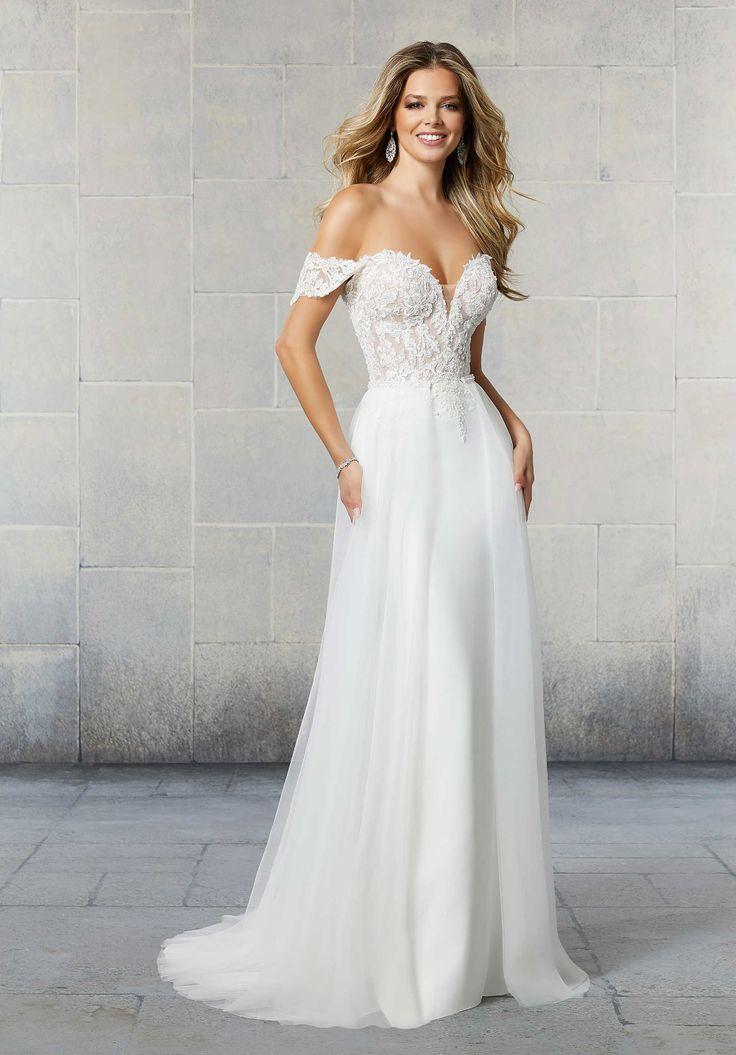 Detachable train wedding dress tulle overskirt off the