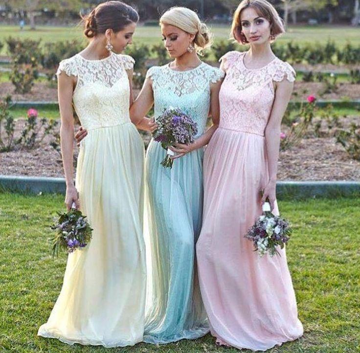 Abendkleider pastell lang