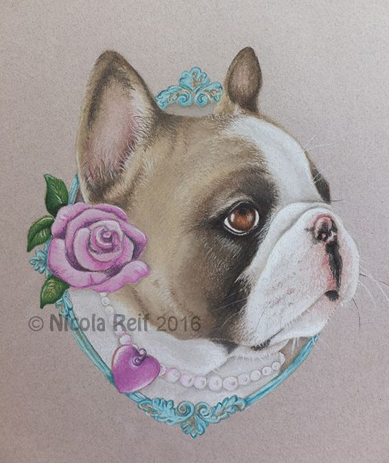 French Bulldog in pearls. Whimsical Pet Portrait by Nicola Reif Art. Pastel Pencil on Canson Pastel paper. Photo reference from owner and artists imagination. Pet portrait