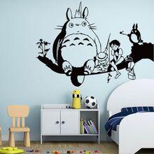 3D de dibujos animados Etiqueta de La Pared para Niños Sala de Animación Hayao Miyazaki Totoro Ghibli Totoro Mi Vecino Totoro Wallpaper Decoración Del Hogar(China)