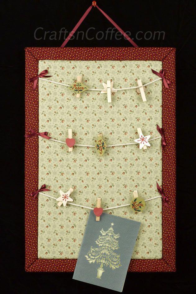 DIY un lindo, tablero de anuncios para tender la ropa para la pantalla tarjeta de Navidad