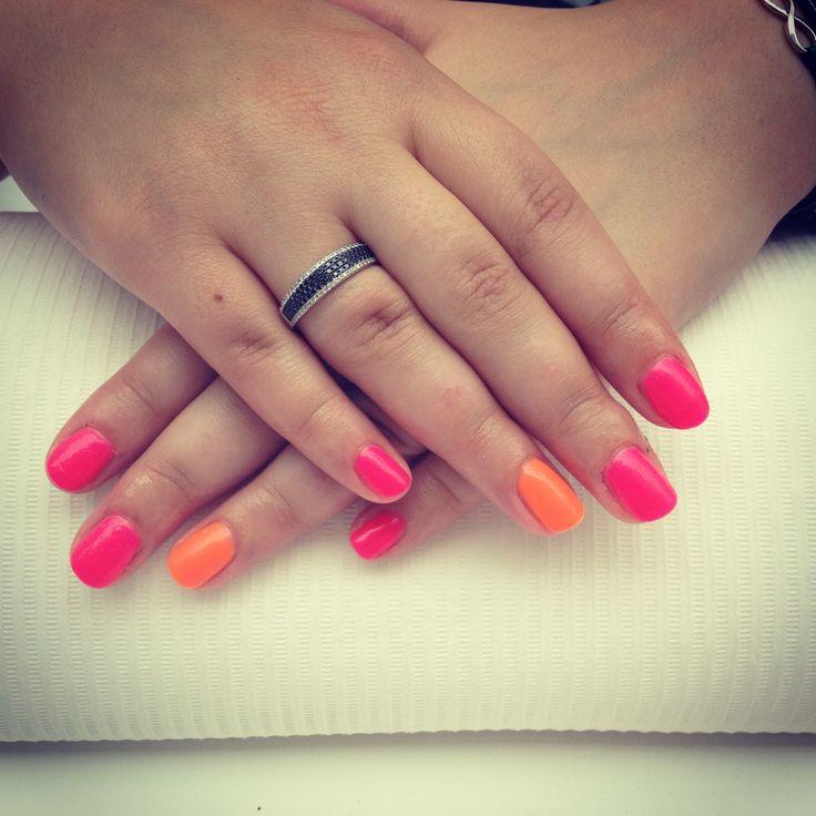 #summer #nails #pink #orange #hybryda #paznokcie #manicure