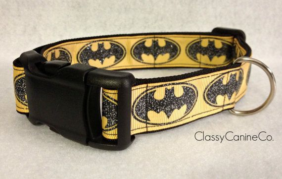 Yellow and Black Batman Dog Collar