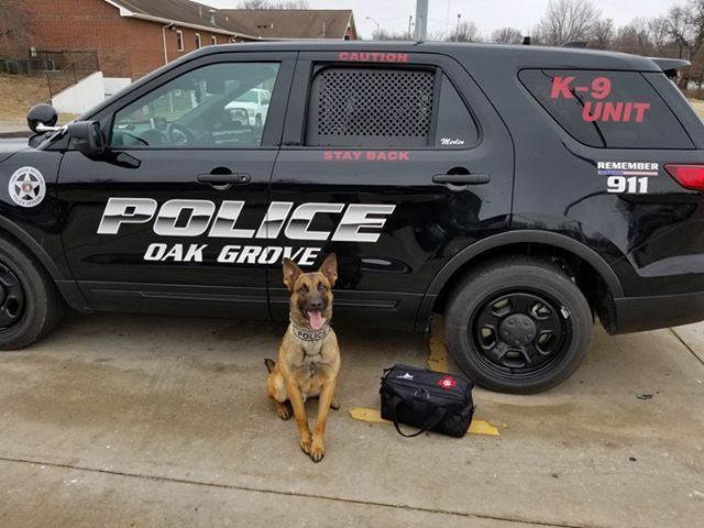 Oak Grove, MO - March 1, 2018, Hero K9 is pleased to announce that the K9 Medical Kit equipment grant awarded to the Oak Grove Police Department for their K9 Merlin has been received. The medical kit was provided to the agency at no cost, thanks to the generosity and support of Linda Krivsky, who provided the $150 sponsorship for the kit.   This equipment grant is graciously sponsored by Linda Krivsky as a special gift to William and Jamie Anderson in loving memory of their son, Liam.