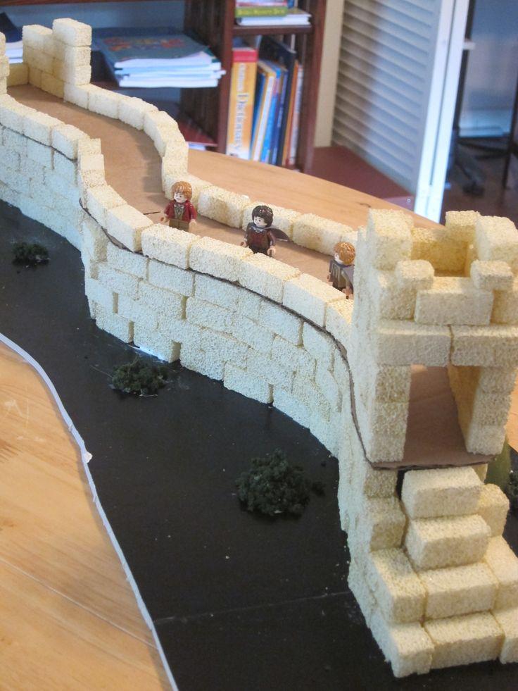 bouwen met suiker klontjes: Great-Wall, Chinese muur,  opdracht voor de bouwhoek