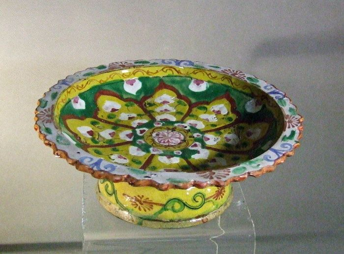 Antique Thailand Tay Benjarong Stem Dish Early Bangkok 19th c