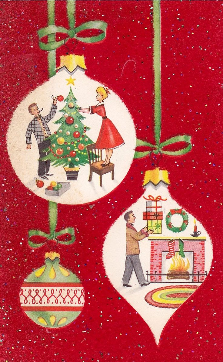 Vintage christmas decorations 1950s - Vintage 1950 S Flocked Christmas Card W Retro Ornaments C7