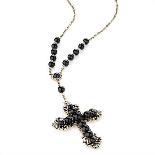 Minerva Collection Large Cross Pendant Chain & Bead Fashion Necklace Antique Gold & Jet Black by Minerva Collection, http://www.amazon.co.uk/dp/B009CWDB4O/ref=cm_sw_r_pi_dp_nlZUqb166KVQ6