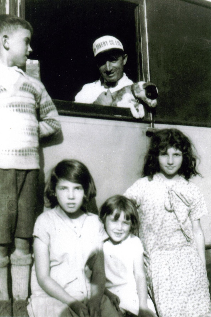 my grandfather,driver at roma bakery in 1930s,Ville Emard ,with my aunts & uncle