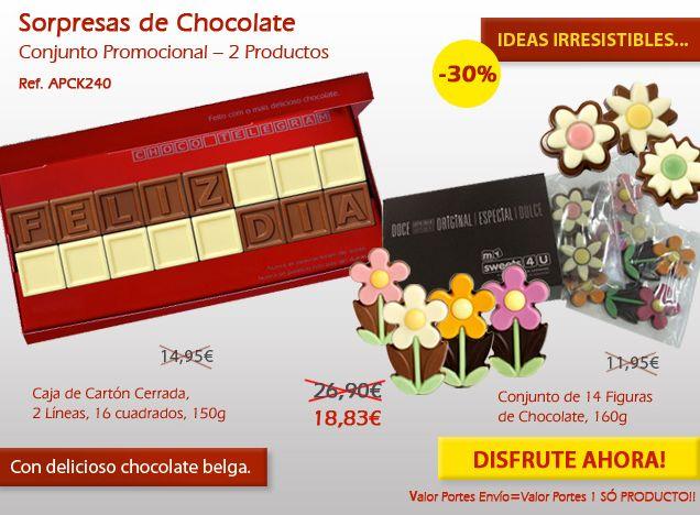 Flores de chocolate y un mensaje en cuadritos de chocolate. ¡No se pierda!