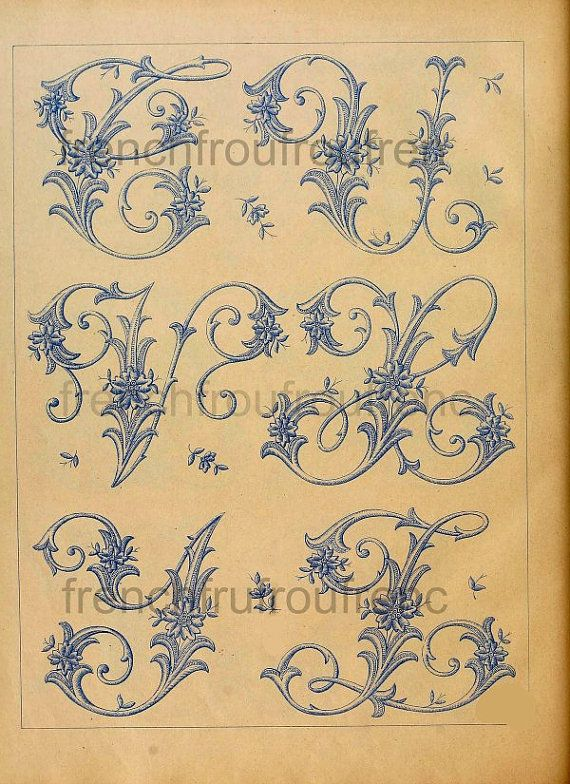 completa antiguo francés victoriano alfabeto por FrenchFrouFrou