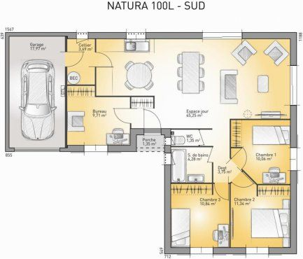 plan maison plain pied france confort